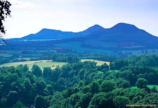 A view of the three Eildon Hills, location of the Selgovae  oppida, or capital settlement