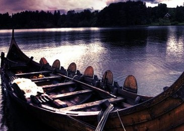 Viking Ship on the sunset